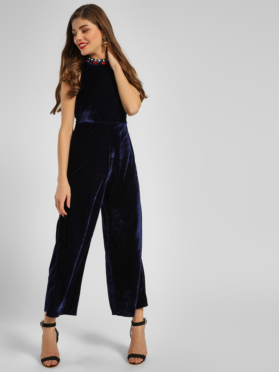 KOOVS Blue Embellished Neck Velvet Jumpsuit 1