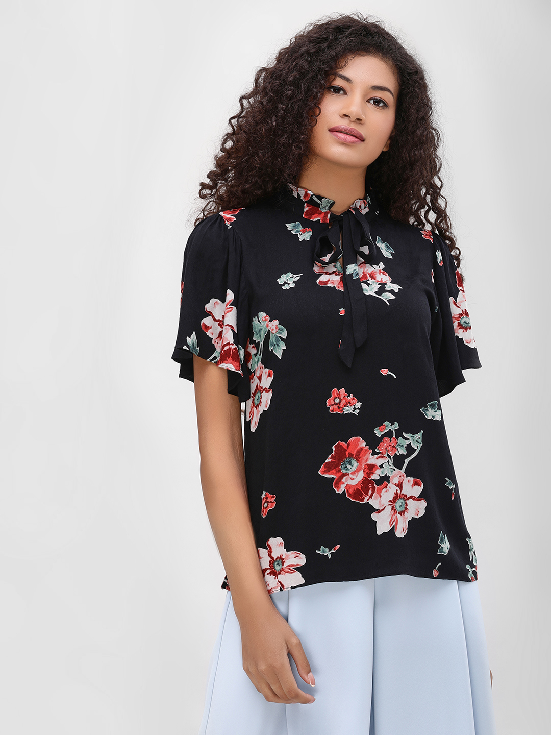 Cover Story Print Floral Printed Tie Neck Blouse 1
