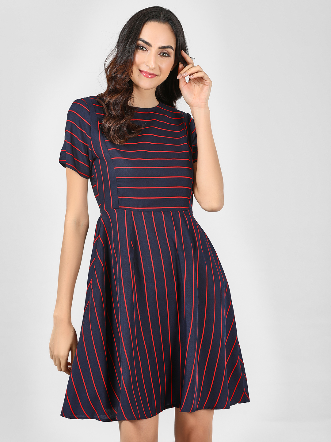 Sbuys Multi Mixed Stripe Skater Dress 1