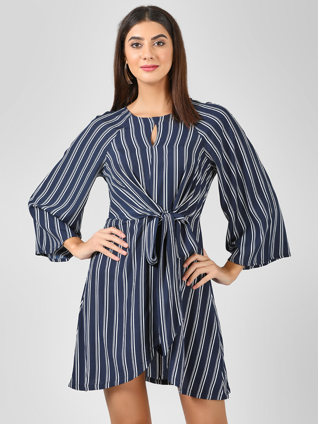 Sbuys Blue/White Front Knot Striped Dress 1
