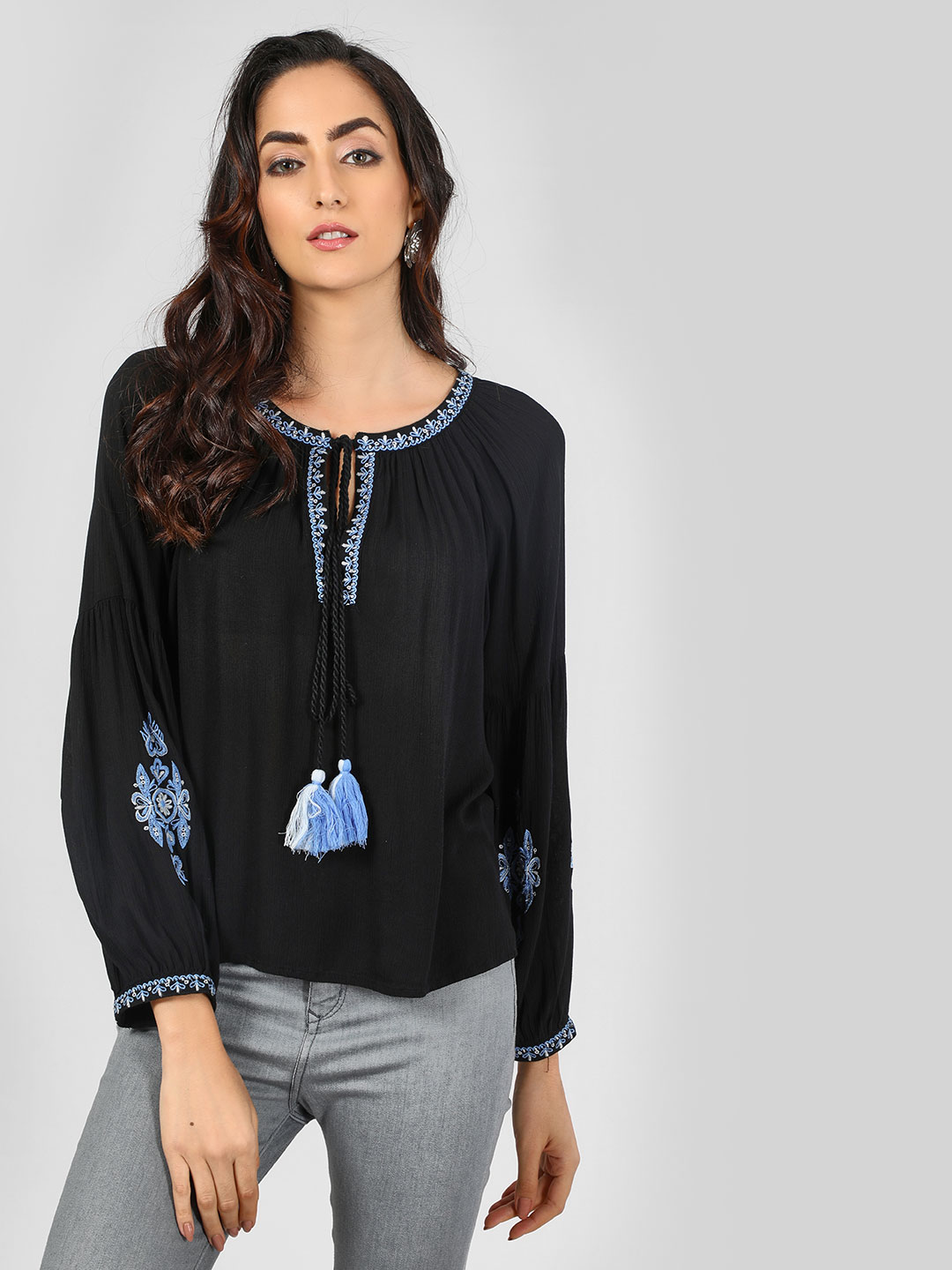 Sbuys Black Peasant Blouse With Embroidery 1