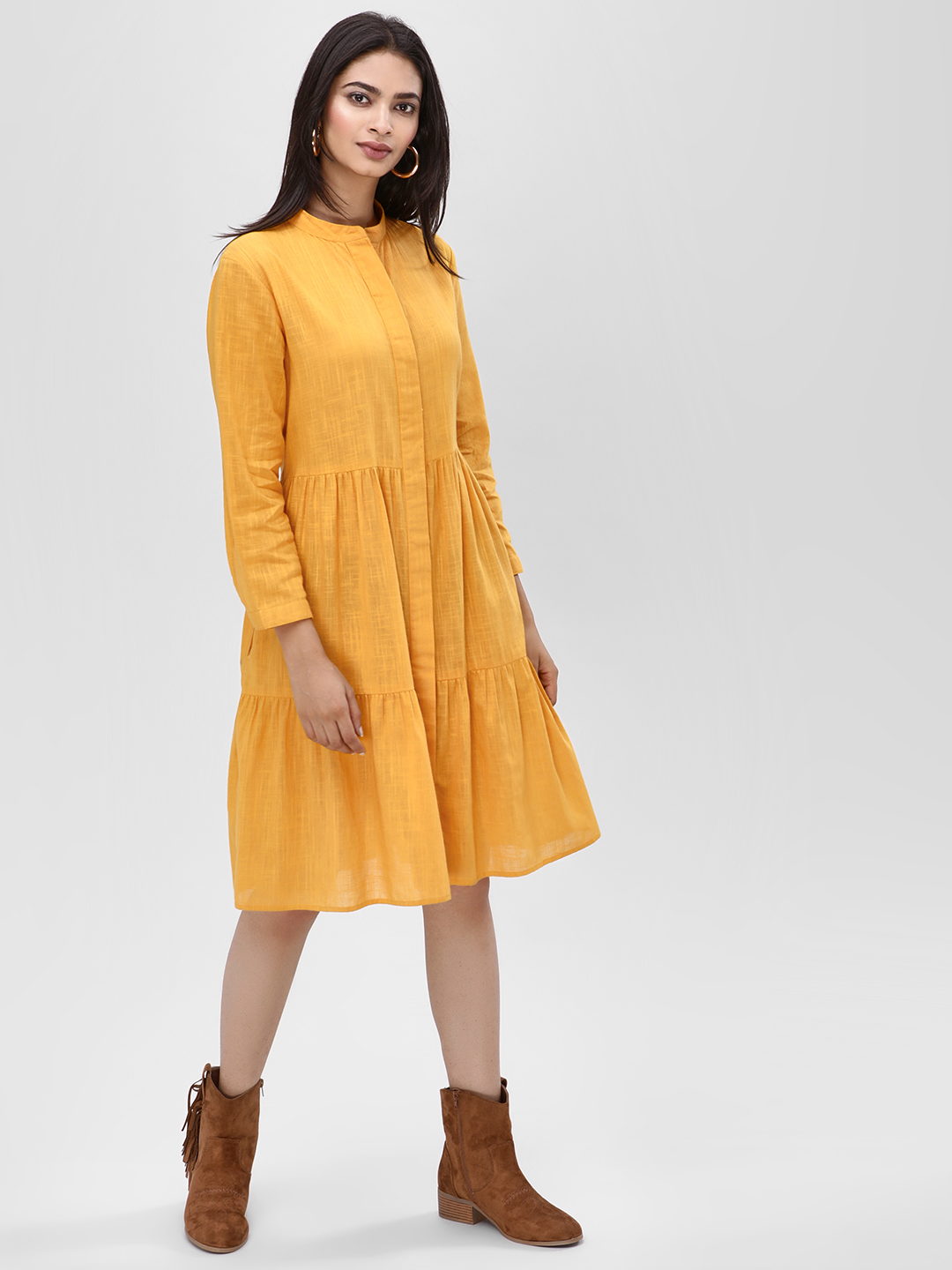 KOOVS Yellow Long Sleeve Shirt Dress 1