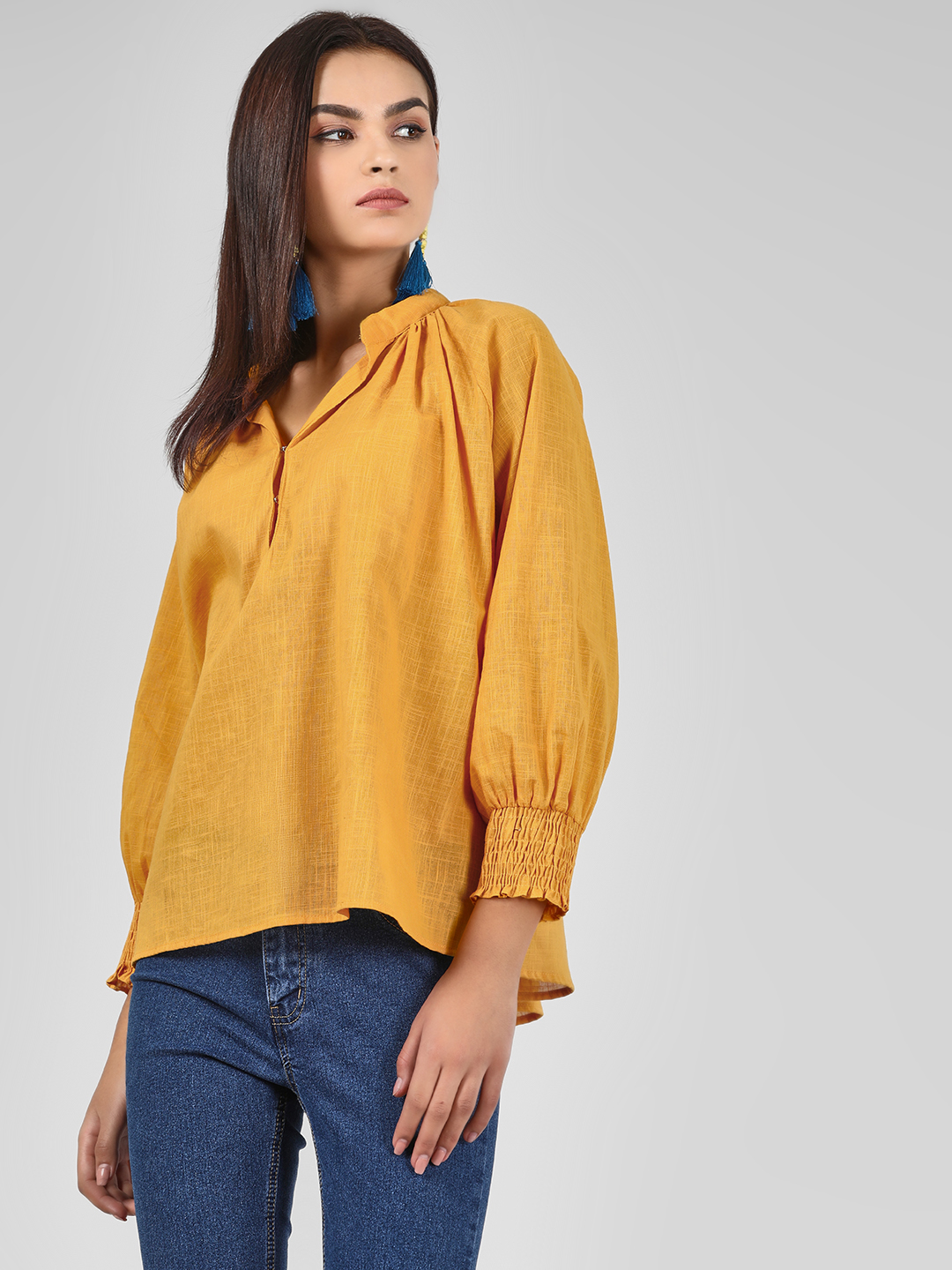 KOOVS Yellow Solid Cuffed Sleeve Blouse 1