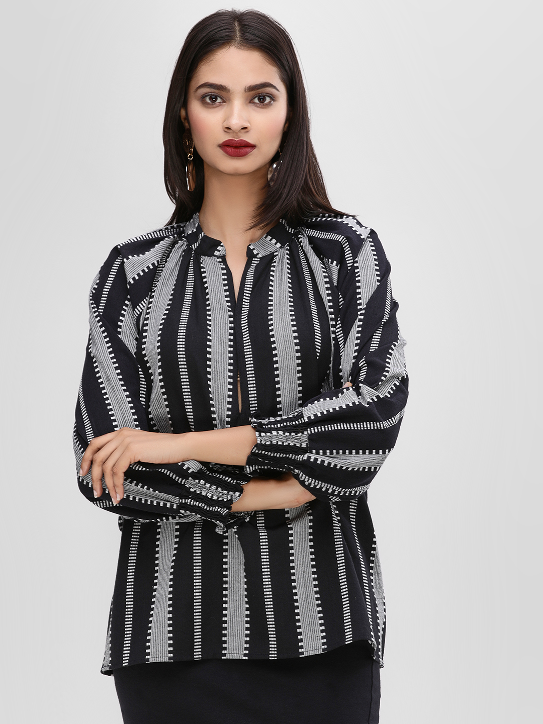 KOOVS Black Printed Cuffed Sleeve Blouse 1