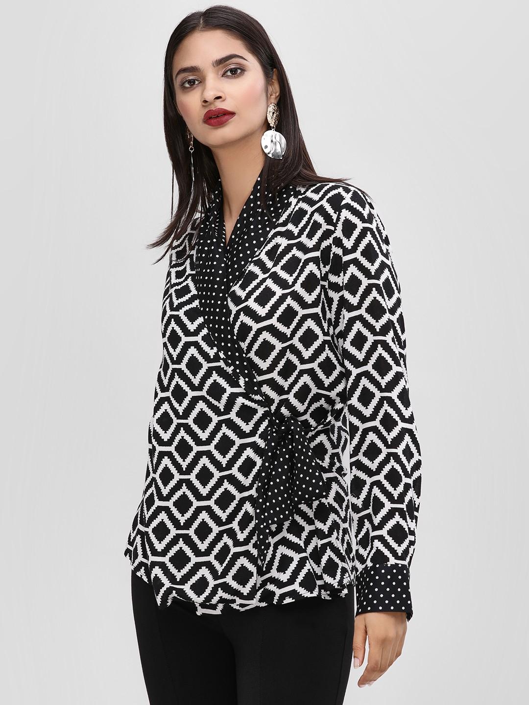 KOOVS Black Printed Shawl Collar Top 1