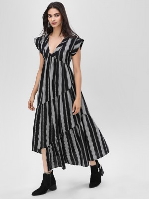 KOOVS Monochrome Striped Asymm...