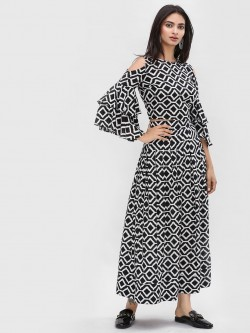 KOOVS Monochrome Flared Maxi Skirt