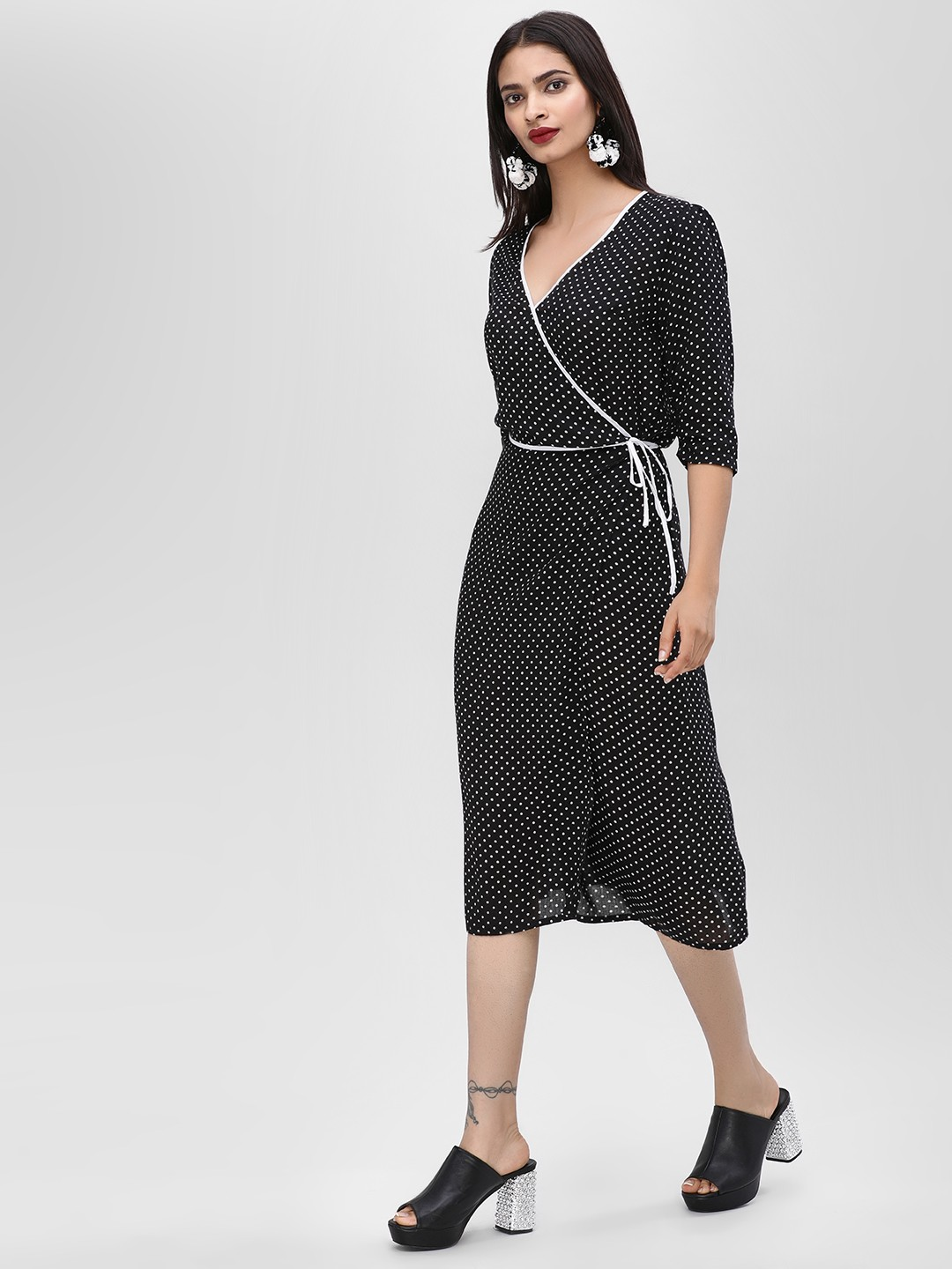 KOOVS Black Polka Dot Midi Dress 1