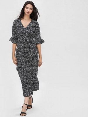 KOOVS Printed Wrap Midi Dress...