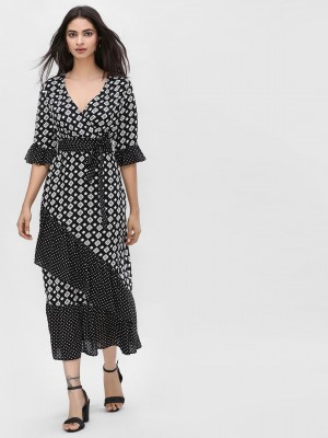 KOOVS Printed Wrap Maxi Dress...