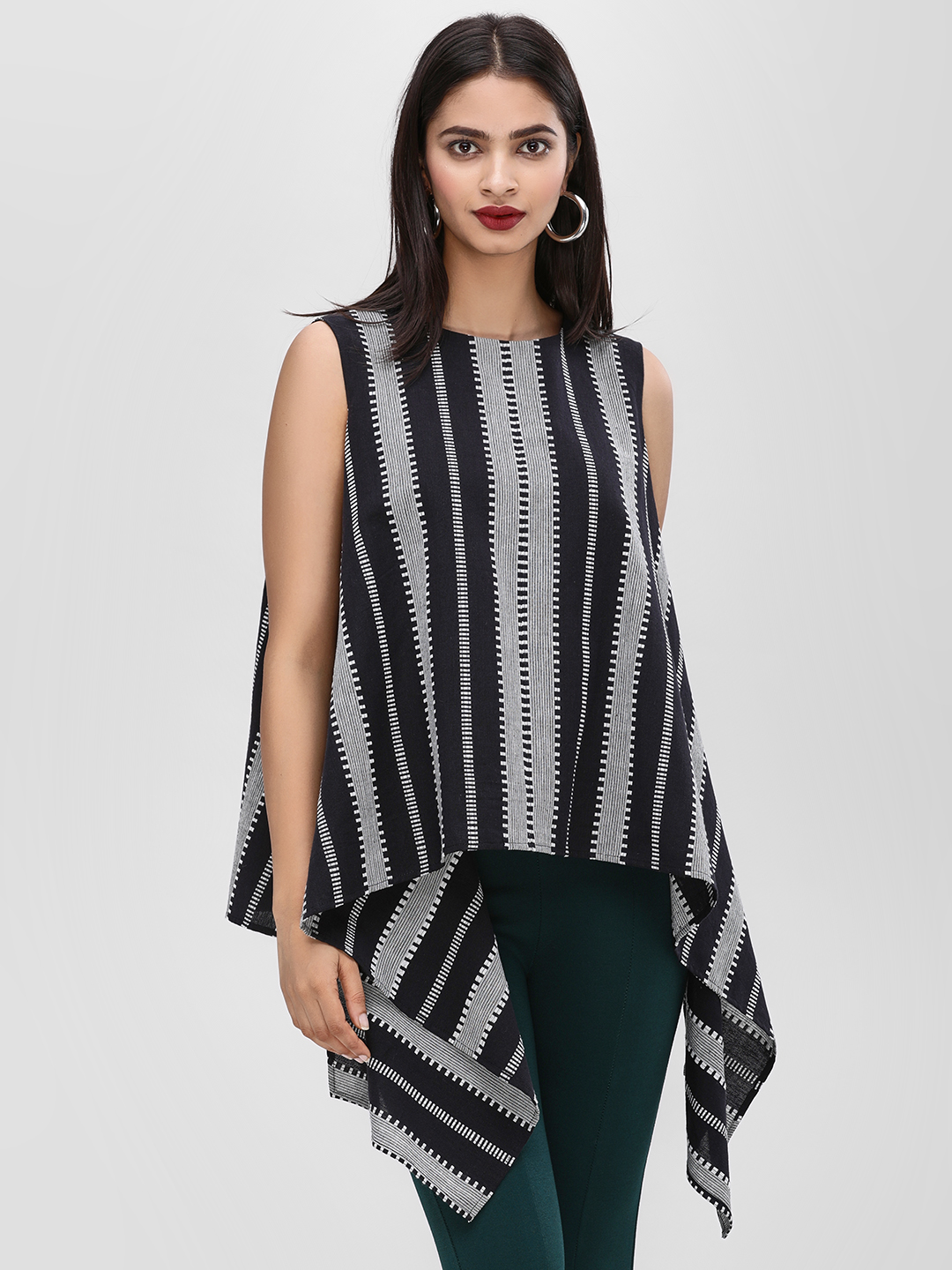KOOVS Black Monochrome Striped Asymmetric Top 1