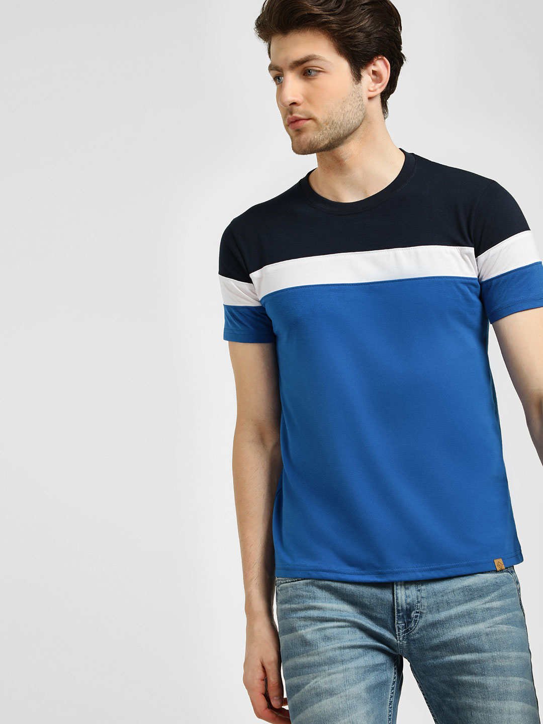 Blotch Blue Colour Block T-Shirt 1