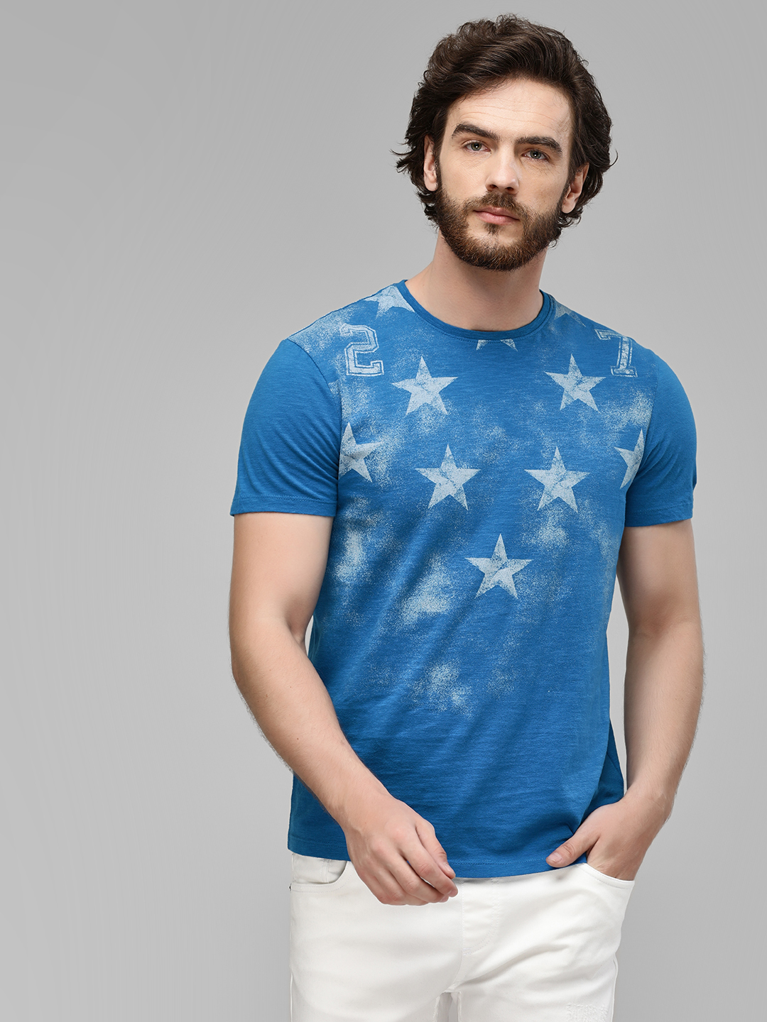 Being Human Navy Blue Placement Print Star T-Shirt 1