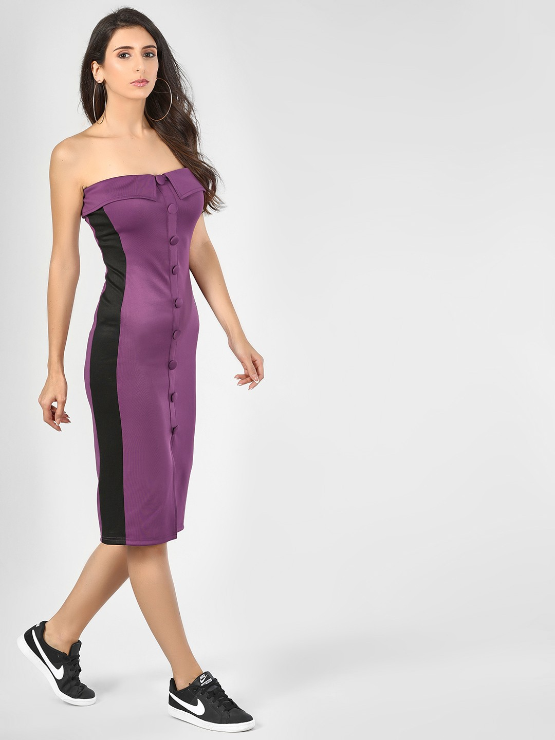 KOOVS Purple Off Shoulder Bodycon Dress 1
