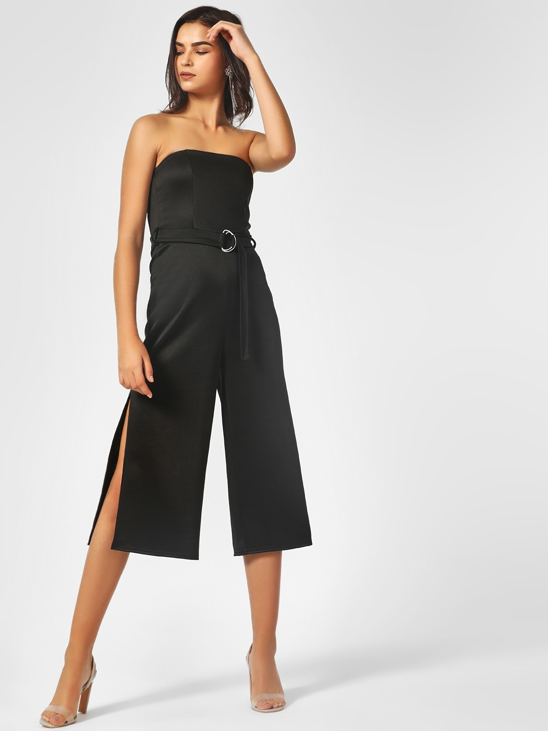 KOOVS Black Off Shoulder Side Slit Jumpsuit 1