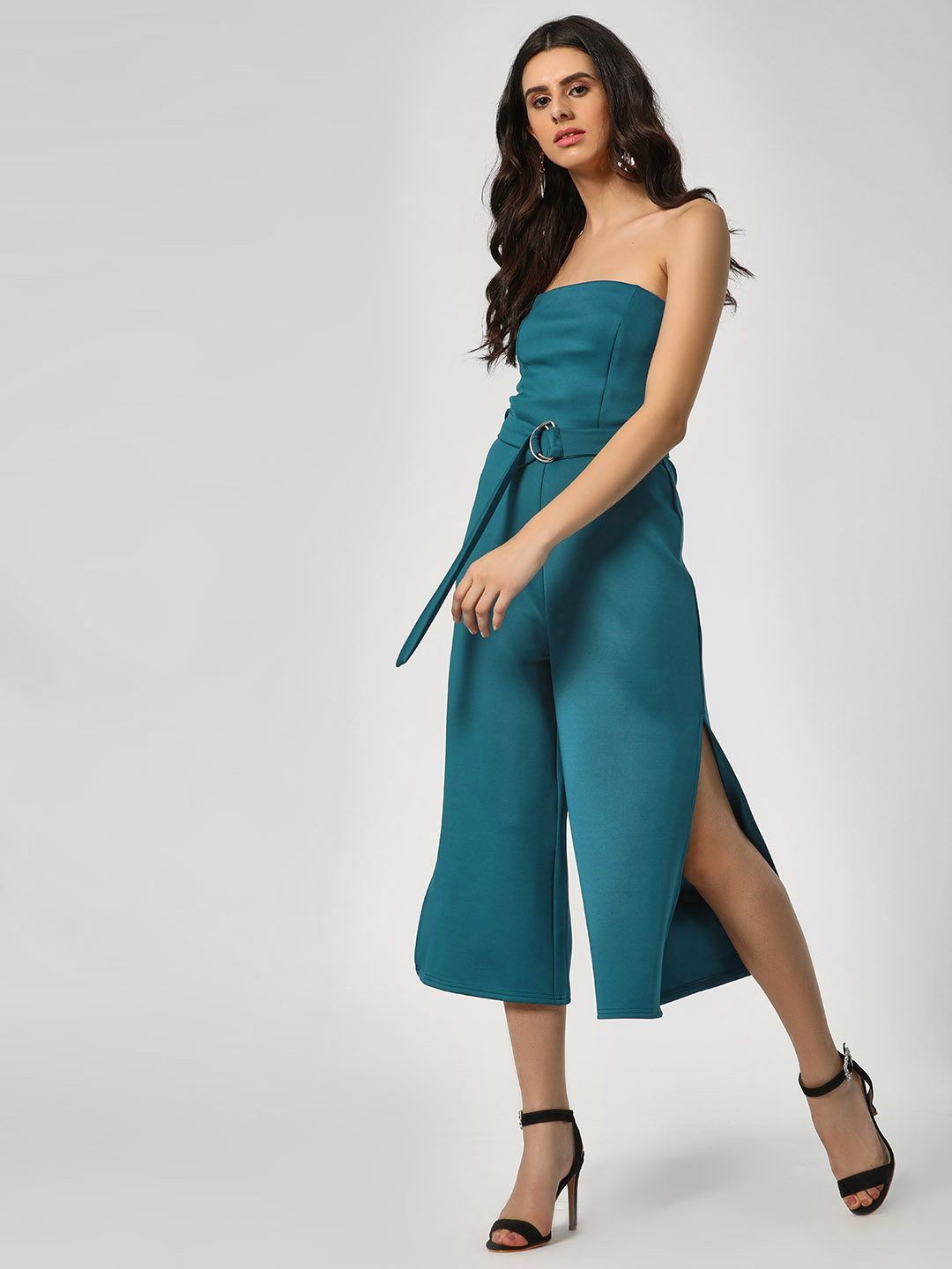 KOOVS Blue Off Shoulder Side Slit Jumpsuit 1