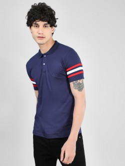 Blotch Stripe Detail Polo T-Shirt