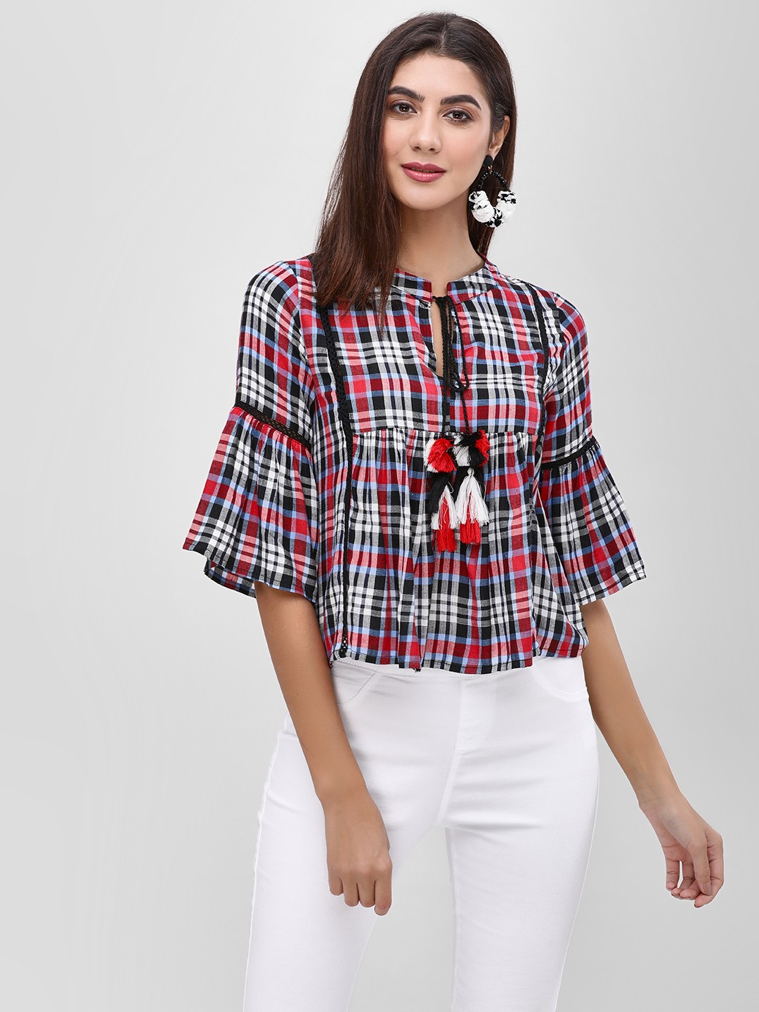 Rena Love Multi Check Blouse With Tie-Fastening 1
