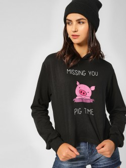 Spring Break Pig Slogan Print Sweatshirt