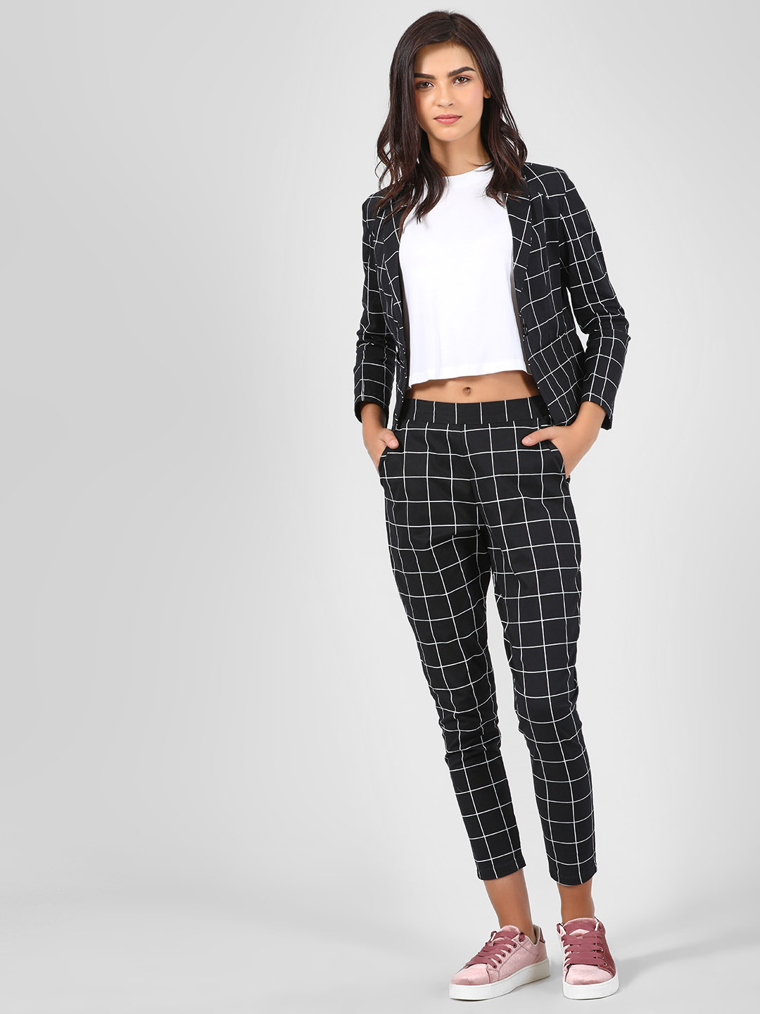 Spring Break Multi Grid Print Slim Trousers 1
