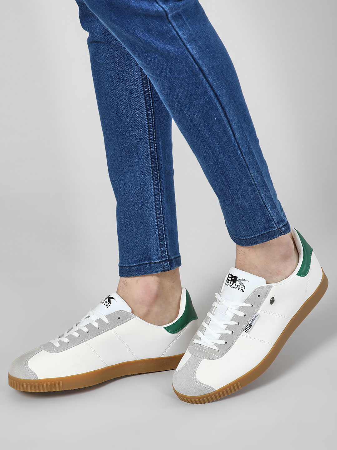 BRITISH KNIGHTS White Contrast Tab Multi-Panelled Sneakers 1