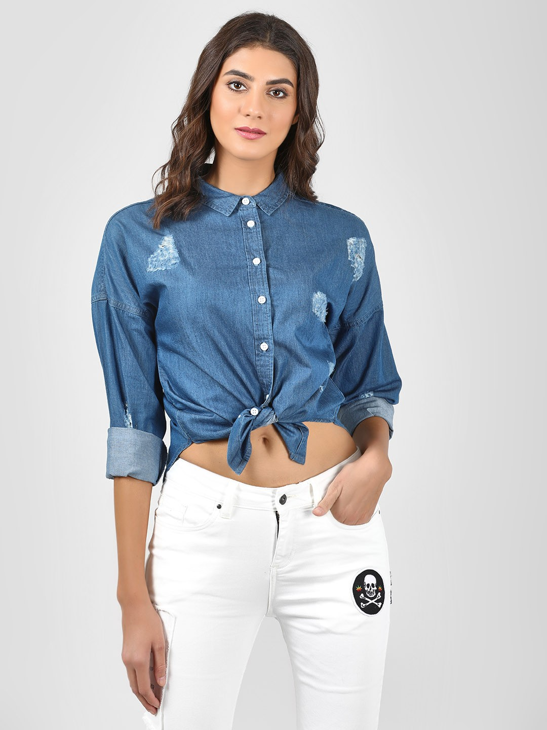 Blue Saint Blue Distressed Denim Shirt 1
