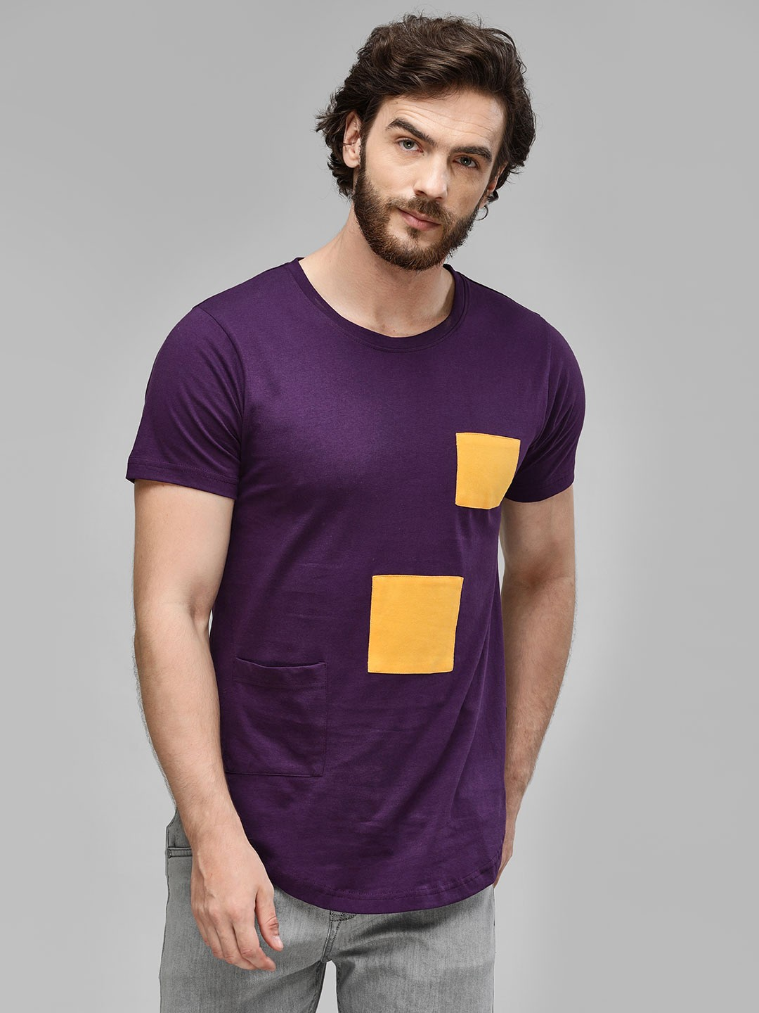 Kultprit Purple Round Neck T-Shirt With Patch Detail 1