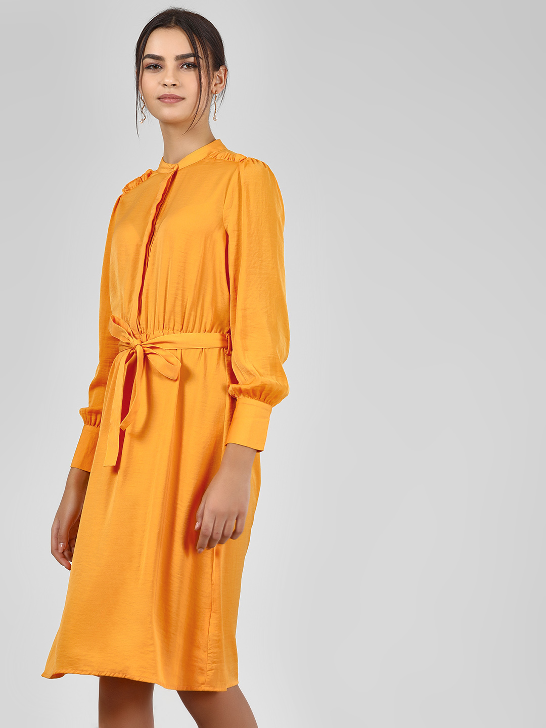 Vero Moda Yellow Tie Front Midi Shirt Dress 1