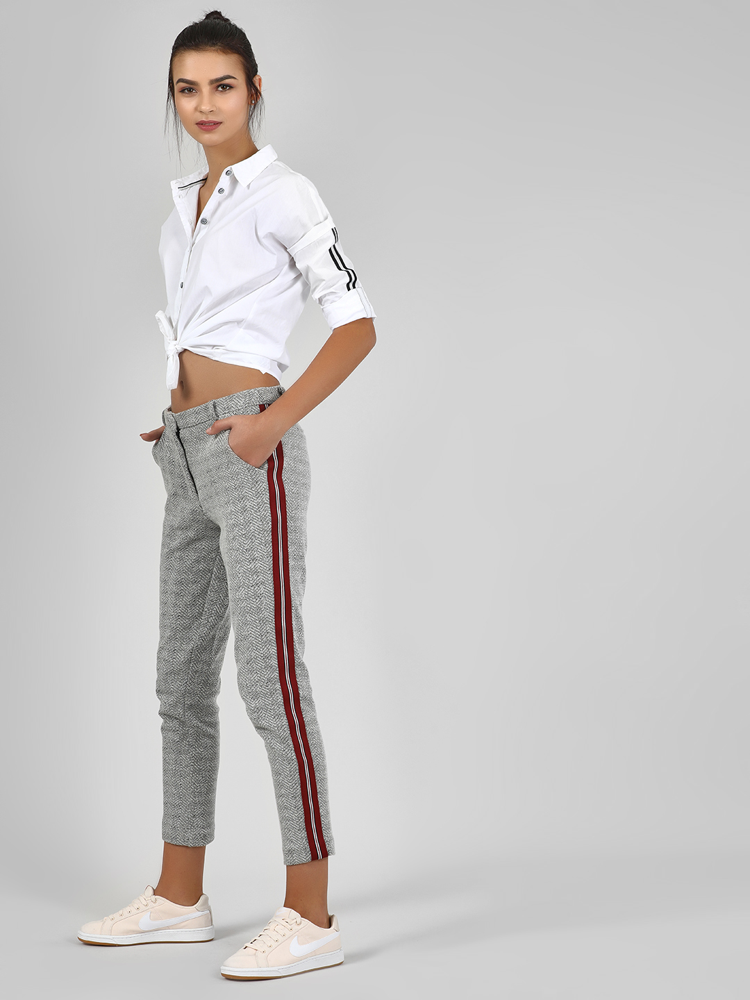 Vero Moda Grey Textured Trouser With Contrast Tape Detail 1