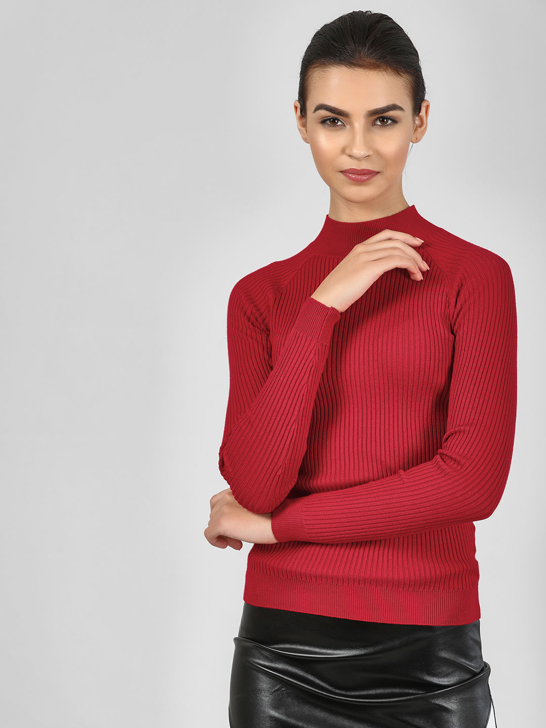 New Look Bright Red Stand Neck Pullover 1