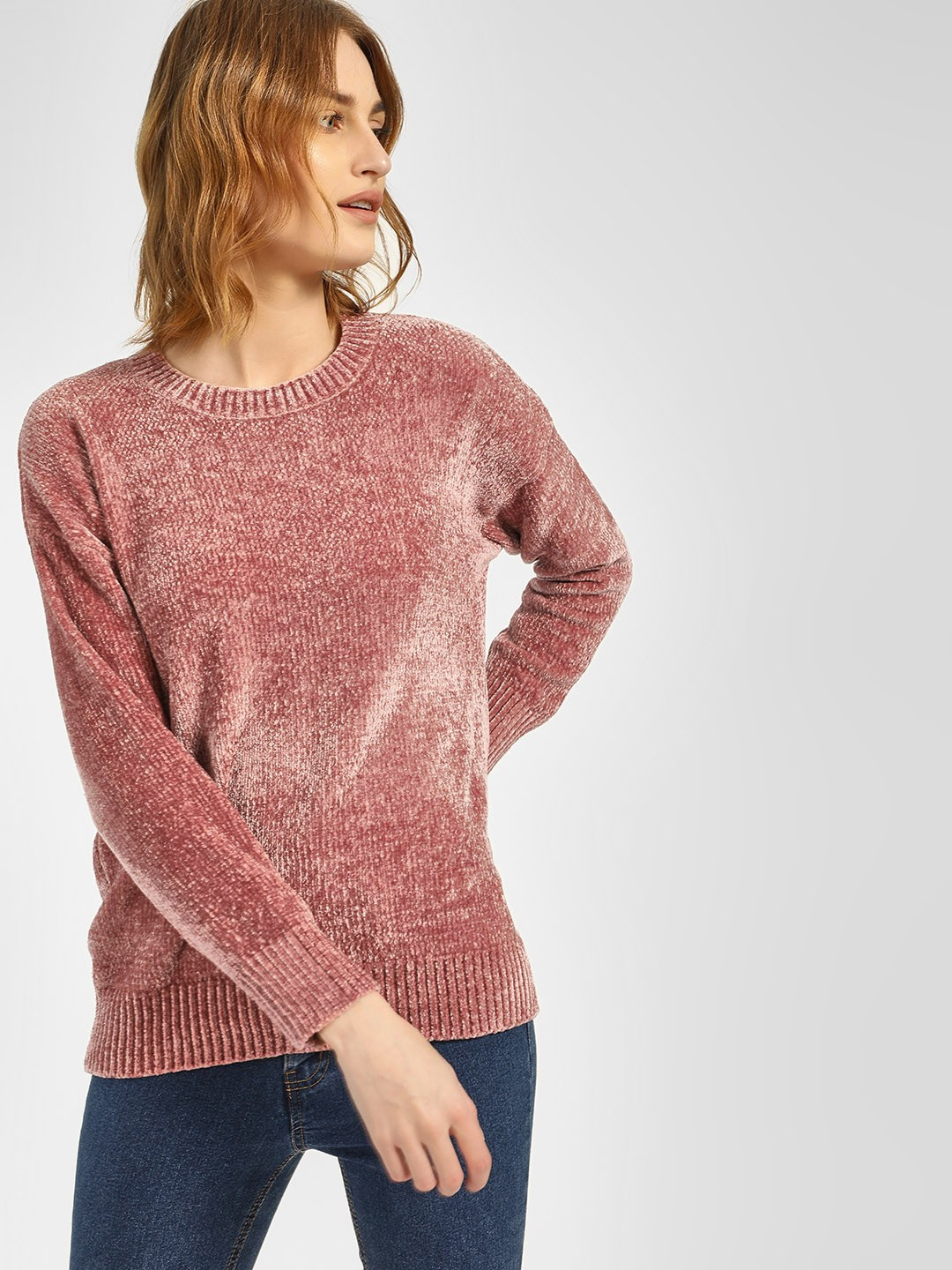 New Look Pink Textured Long Sleeve Pullover 1