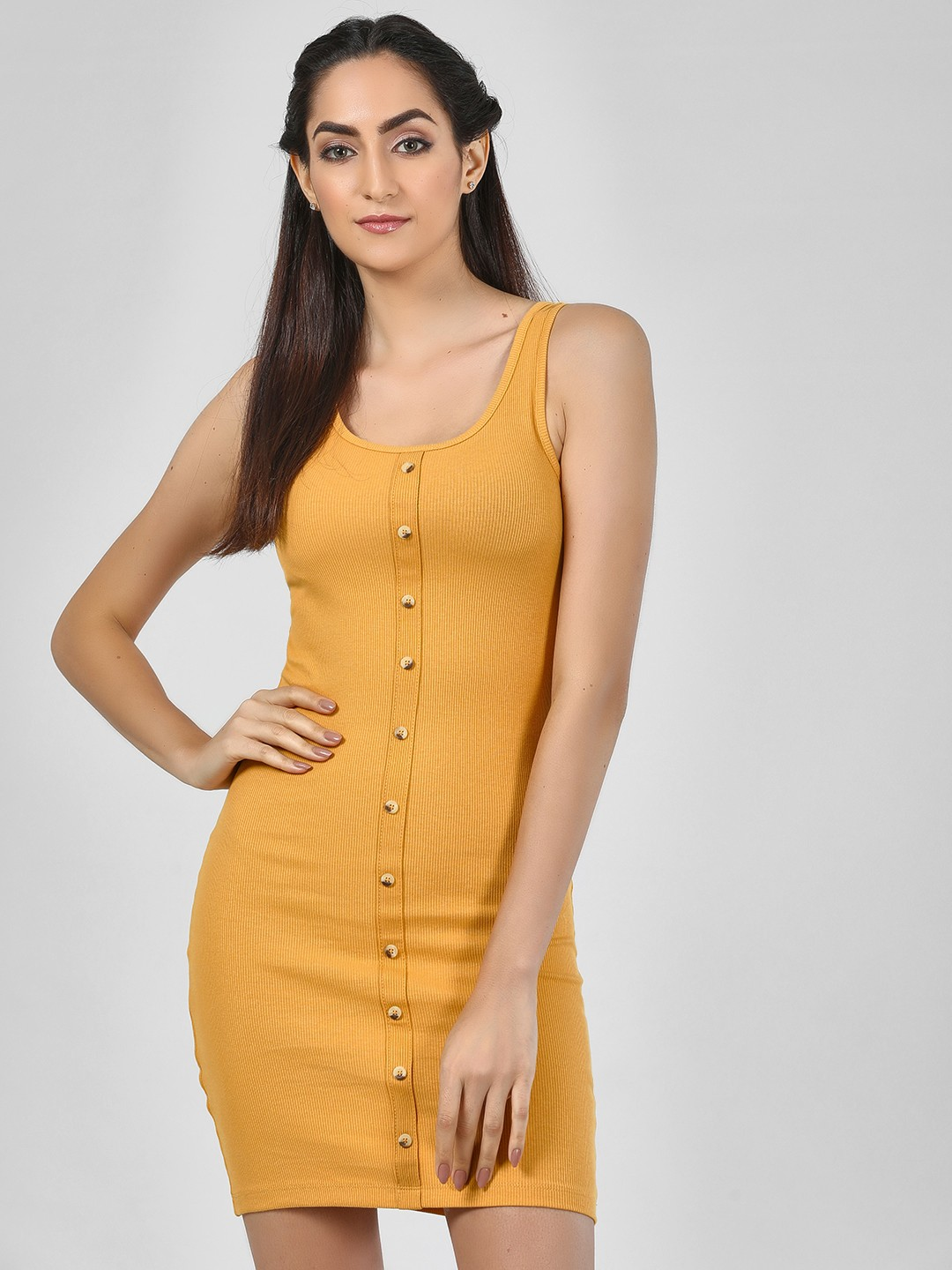 New Look dark yellow Bodycon Dress With Button Detail 1