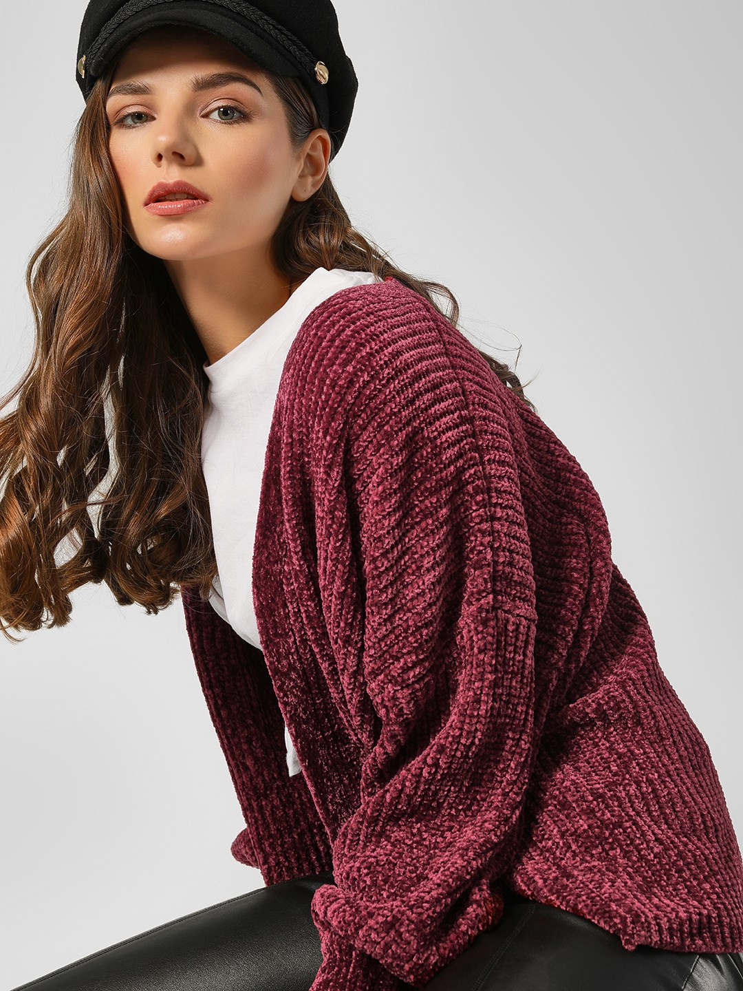 New Look Dark Burgundy Ribbed Long Sleeve Shrug 1