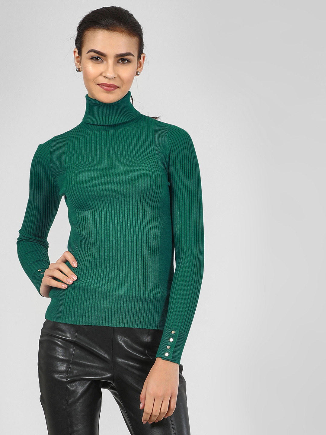 New Look MID GREEN Roll Neck Long Sleeve Top 1