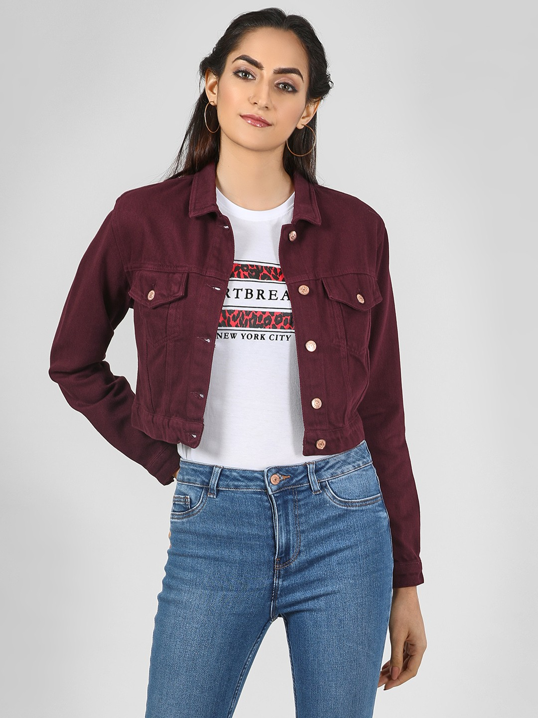 New Look Dark Burgundy Cropped Denim Jacket 1