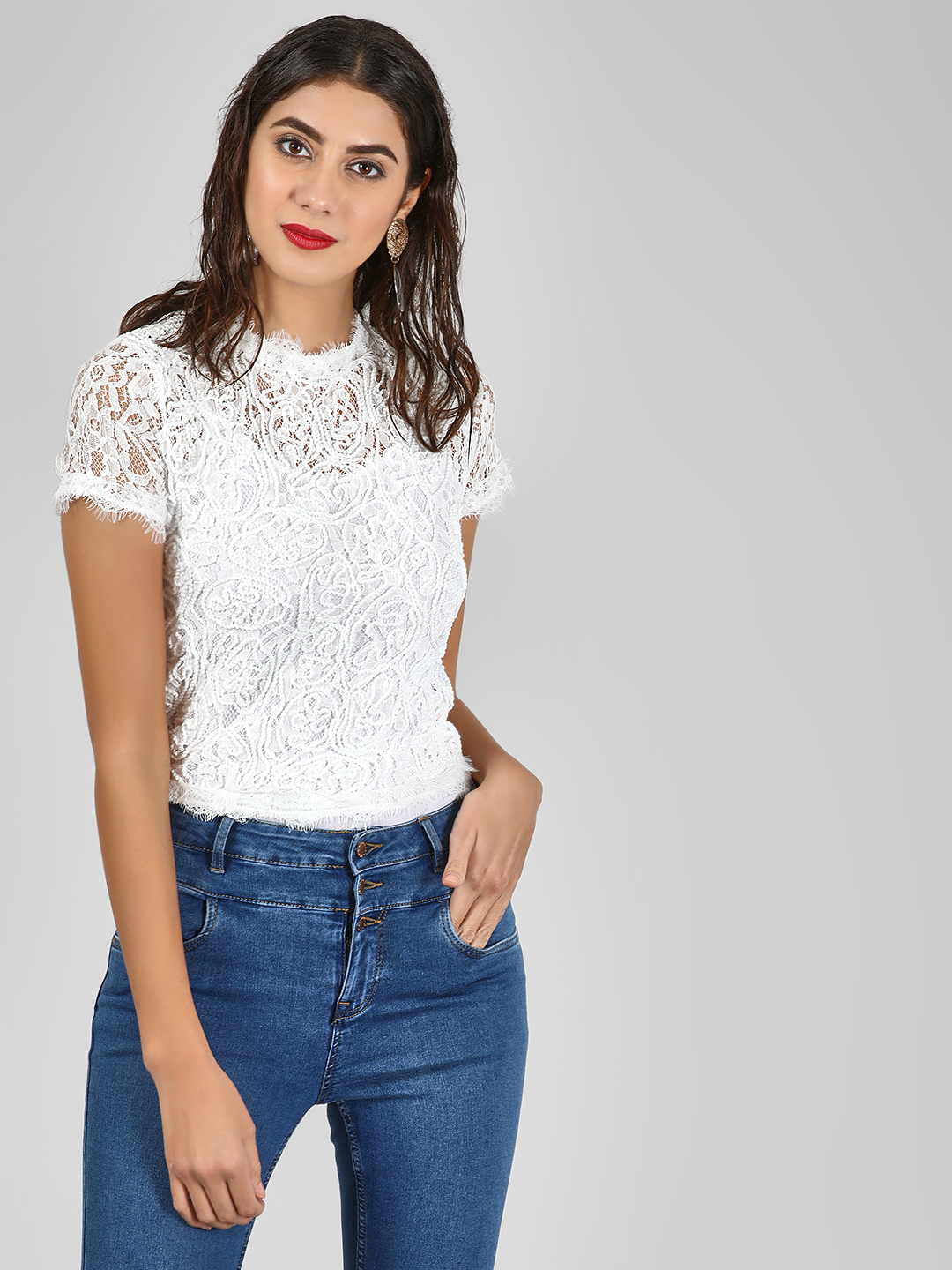 New Look White Lace Top With Back Zipper 1