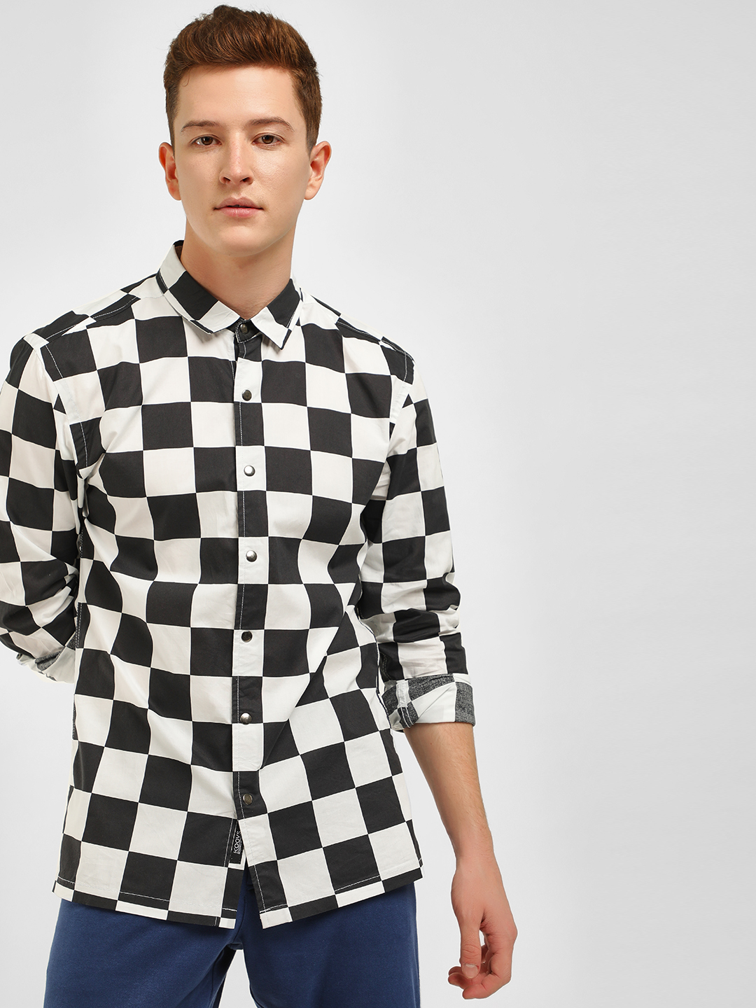 KOOVS Multi Checkerboard Print Casual Shirt 1