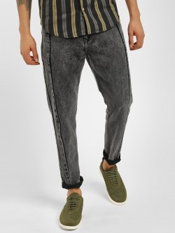 K Denim KOOVS Spliced Washed Slim Fit Jeans