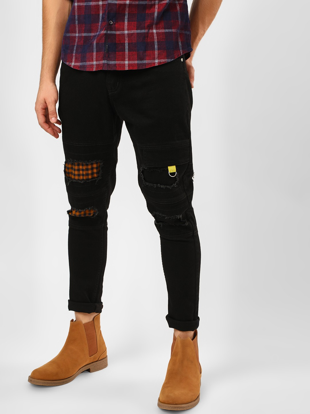 K Denim Black KOOVS Patchwork & Paneled Skinny Jeans 1