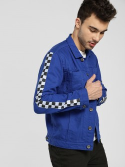 K Denim KOOVS Checkerboard Side Tape Denim Jacket