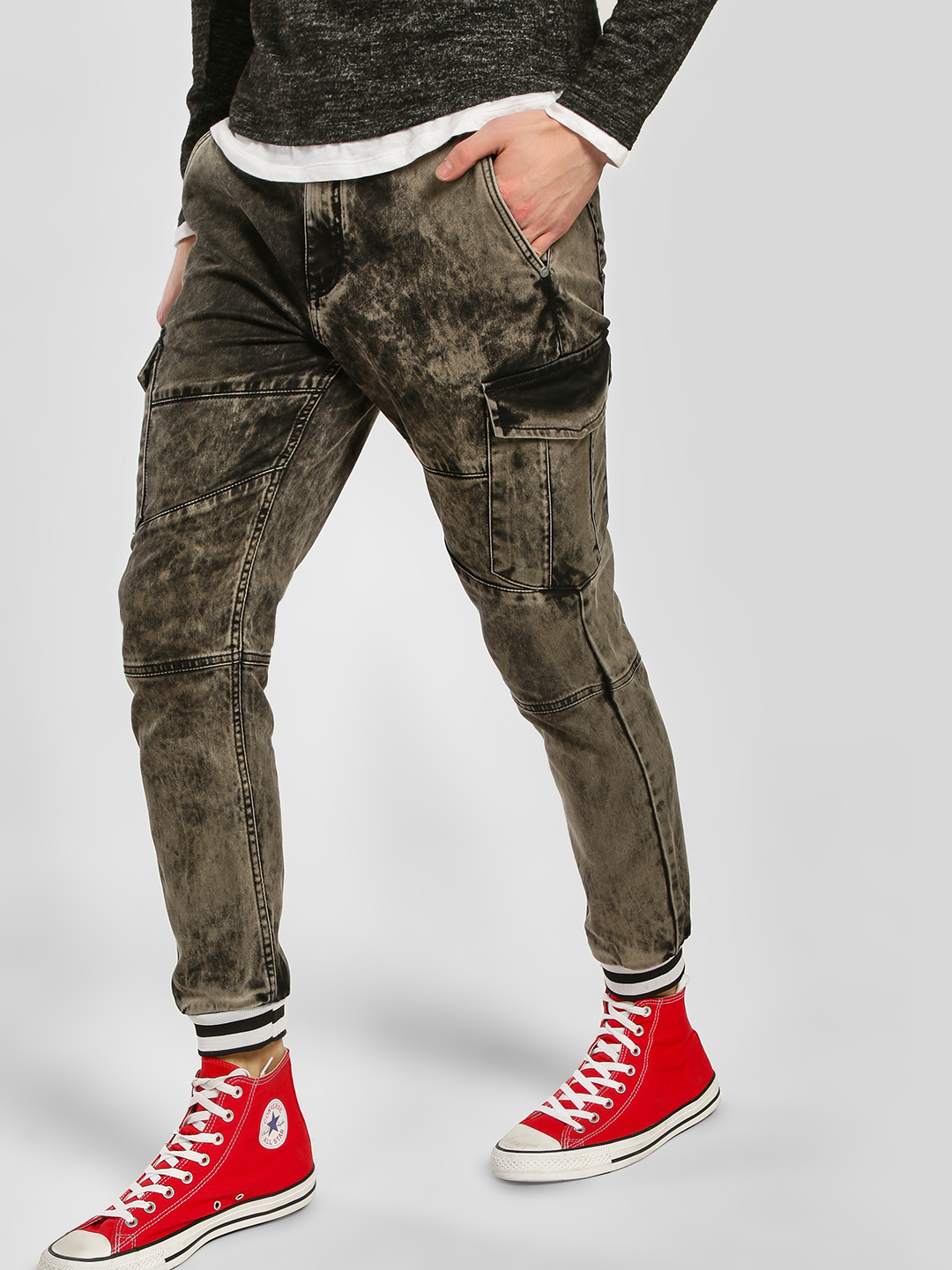 K Denim Grey KOOVS Washed Denim Joggers 1