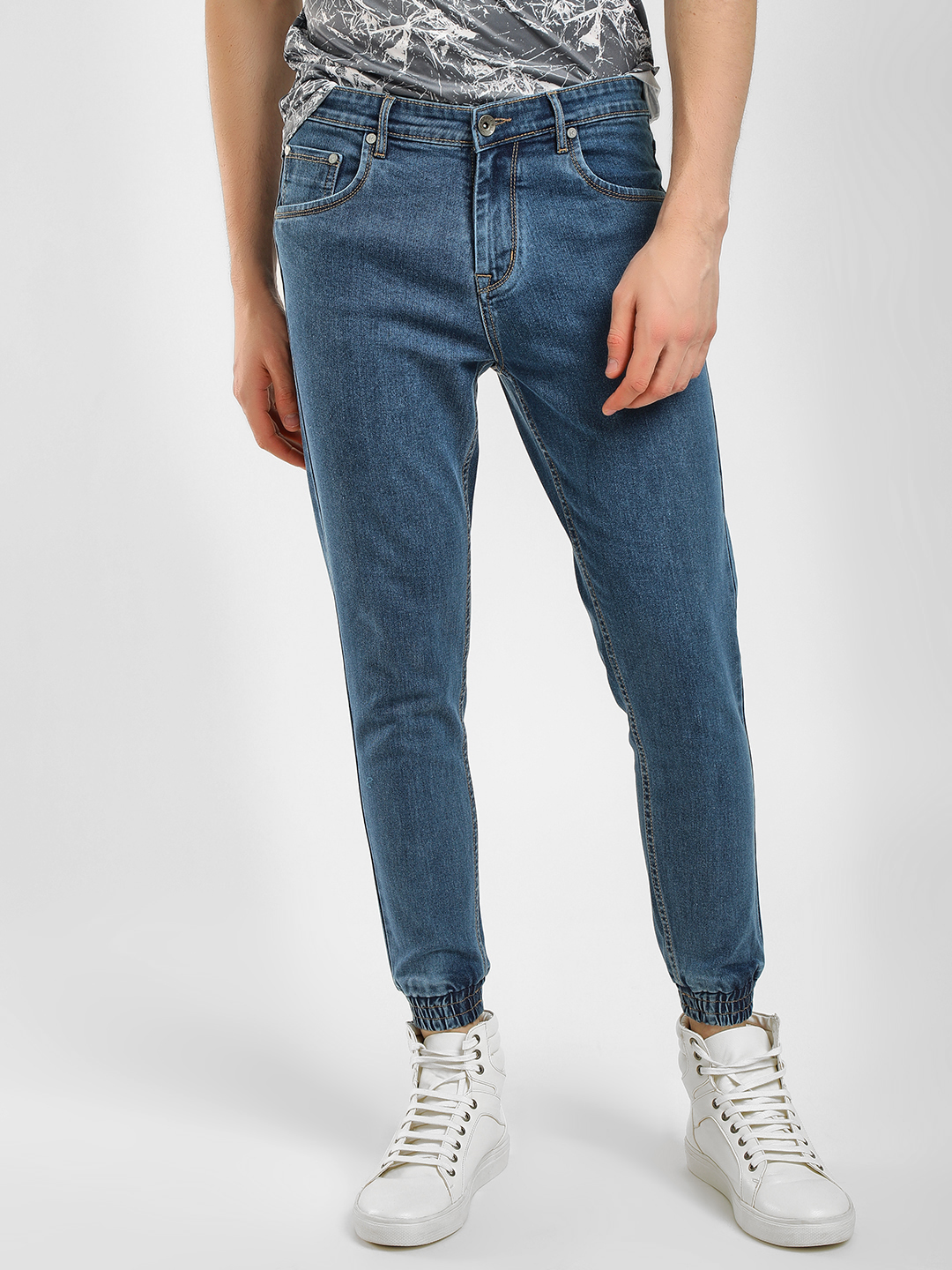 K Denim Blue KOOVS Mid Wash Cuffed Joggers 1