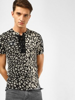 KOOVS Ikat Print Lace Up Neck T-Shirt