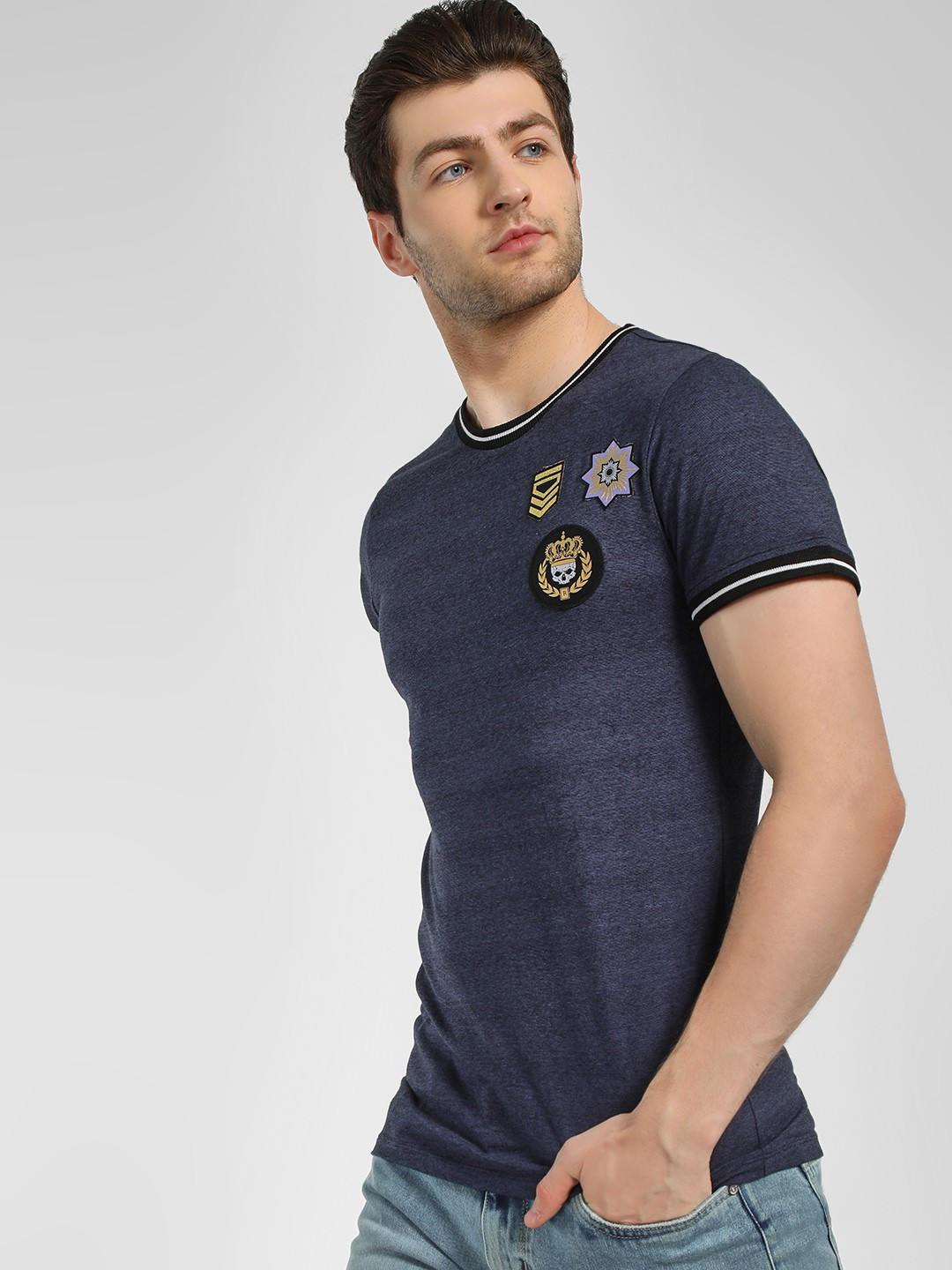 KOOVS Blue Badge Detail Ringer T-Shirt 1