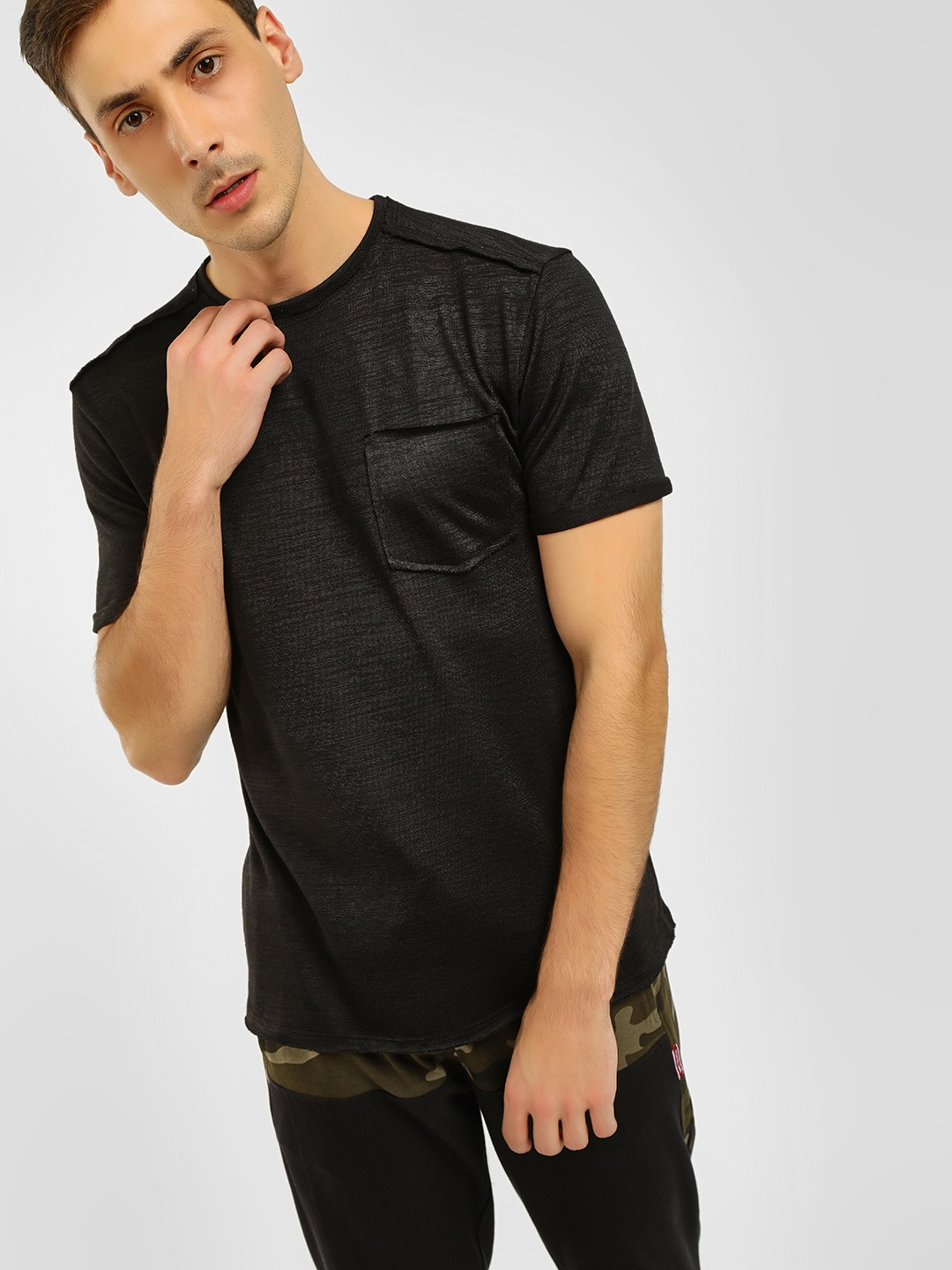 KOOVS Black Basic Loose Knit T-Shirt 1