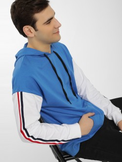 KOOVS Contrast Tape Colour Block Hoodie