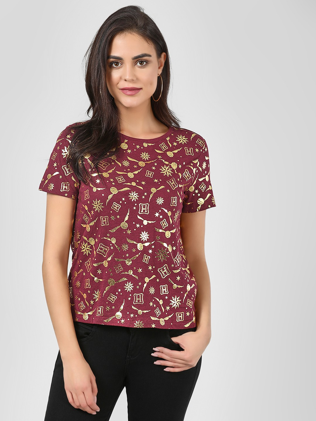Only Red All Over Snitch Print T-Shirt 1