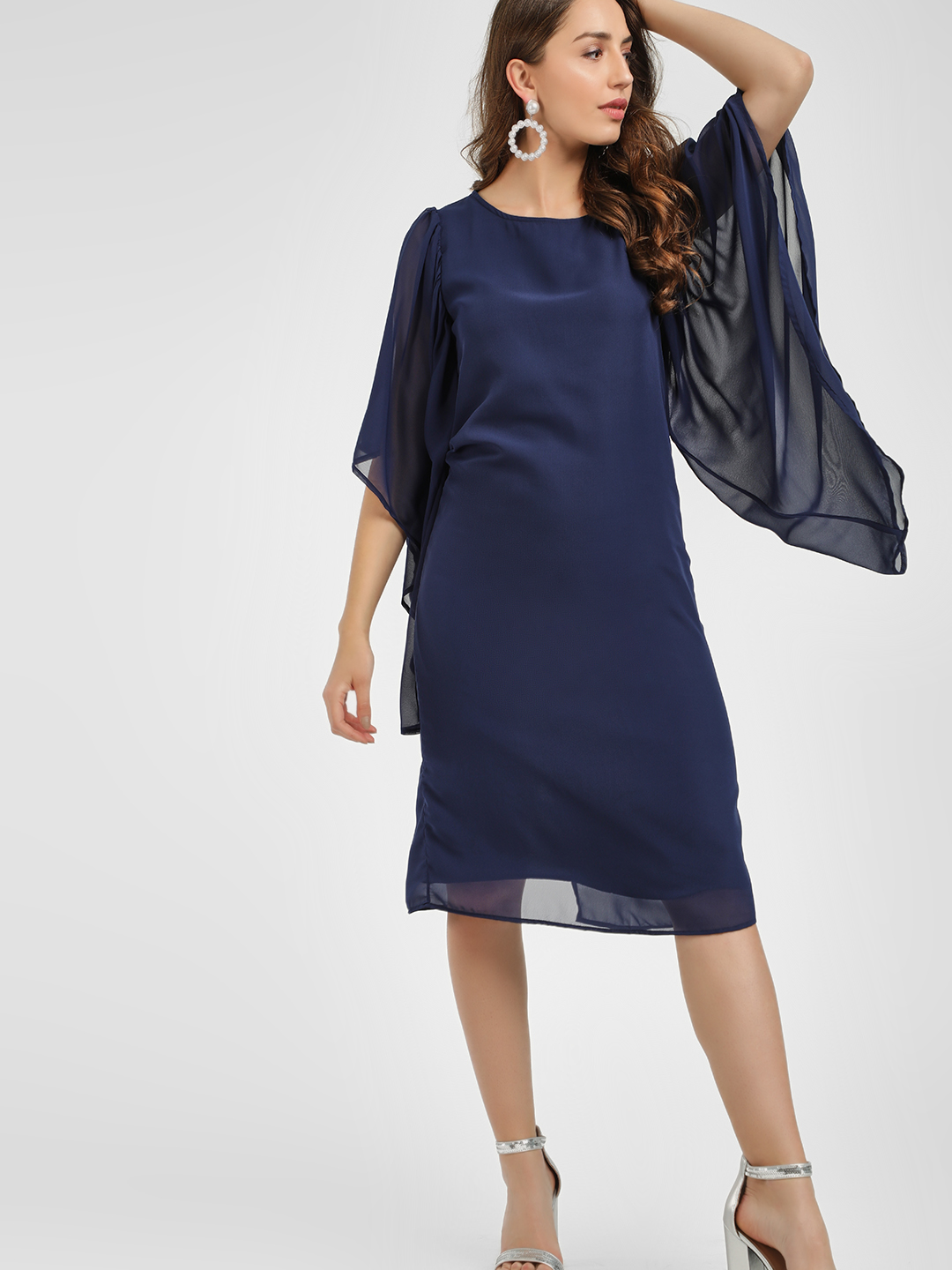 Femella Navy Flared Asymmetric Sleeve Midi Dress 1