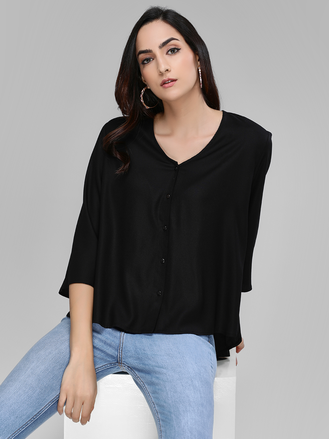 Femella Black Basic High-Low Shirt 1