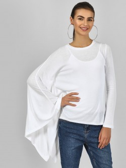 Femella Asymmetric Hem Ribbed Top